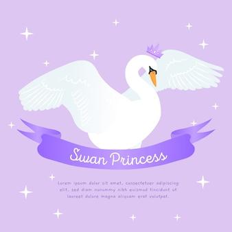 Princesa cisne com ilustração de coroa