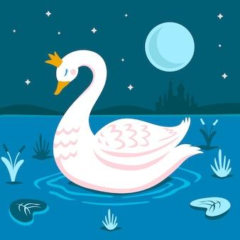 Princesa cisne conceito ilustrado