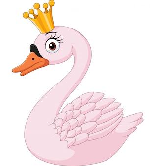Princesa cisne dos desenhos animados isolada
