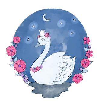 Princesa cisne mão ilustrações desenhadas