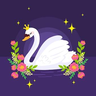 Princesa cisne no meio da noite com flores
