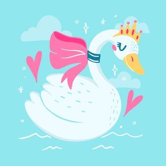 Princesa cisne usando uma coroa de ouro