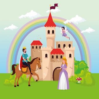 Princesa com rei e fada na cena mágica