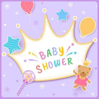 Princesa-coroa-bebê-chuveiro-urso
