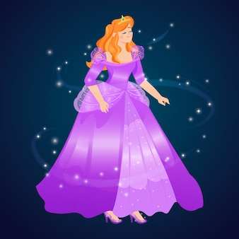 Princesa de cinderela de design plano