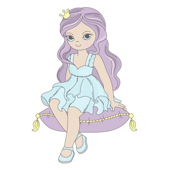 Princesa de conto de fadas menina bonita dos desenhos animados