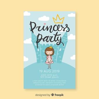Princesa de convite de aniversário na frente de um castelo