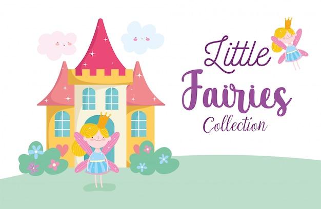 Princesa de fadas pequena bonito com coroa e castelo conto dos desenhos animados