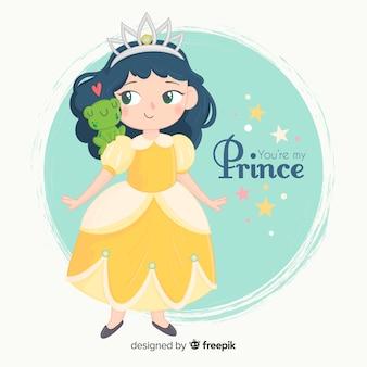 Princesa desenhada de mão com vestido amarelo