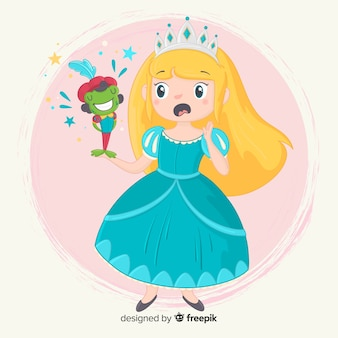Princesa desenhada de mão com vestido azul