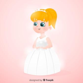 Princesa desenhada de mão com vestido branco