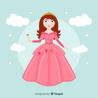 Princesa desenhada de mão com vestido rosa
