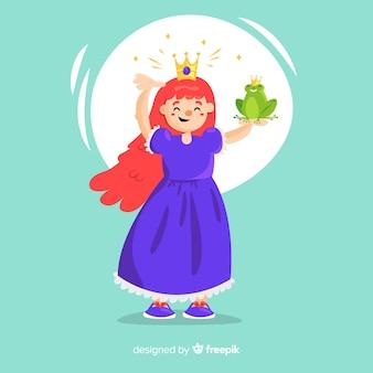 Princesa desenhada de mão com vestido roxo