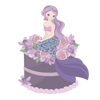 Princesa doce floral do aniversário da sereia