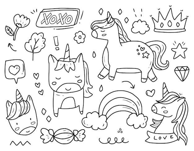Princesa doodle conjunto de desenhos de desenhos animados