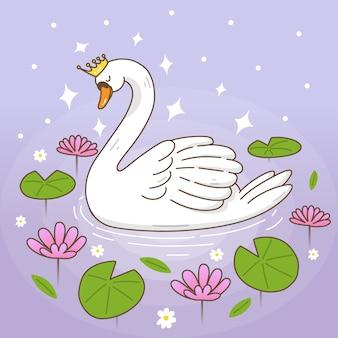 Princesa dos desenhos animados de cisne em um lago com nenúfares