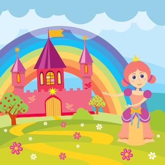 Princesa dos desenhos animados e castelo de conto de fadas