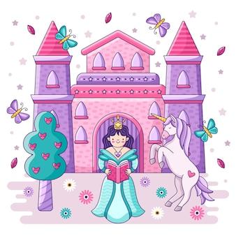 Princesa e castelo do conceito de conto de fadas