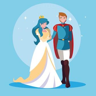 Princesa e príncipe do personagem de avatar de fantasia de conto de fadas