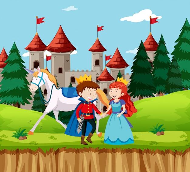 Princesa e príncipe no castelo