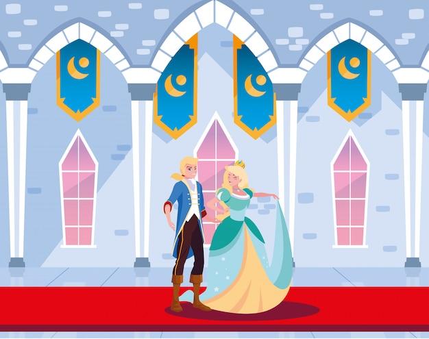 Princesa e príncipe no conto de fadas do castelo