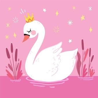 Princesa elegante cisne com coroa