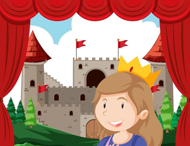 Princesa em primeiro plano do palco atuando na frente do castelo