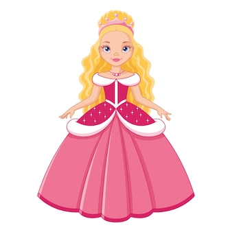 Princesa fofa em vestido rosa