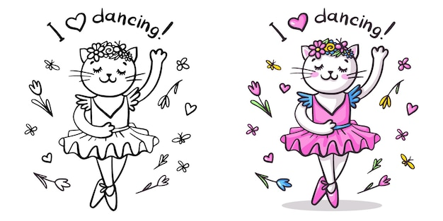 Princesa gato está dançando na ponta. conjunto com desenho vetorial preto e branco com frase de caligrafia e ilustração colorida. página para colorir bonito, impressão, etiqueta, cartão.
