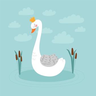 Princesa graciosa cisne com coroa