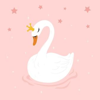 Princesa ilustrada criativa da cisne
