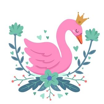 Princesa linda cisne com coroa
