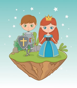Princesa medieval e cavaleiro de design de conto de fadas