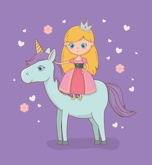 Princesa medieval e cavalo de design de conto de fadas