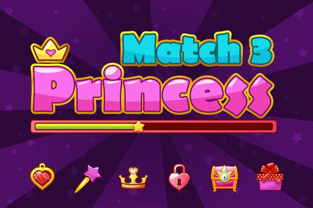 Princesa menina carregando jogos match3, ícones de ativos do jogo