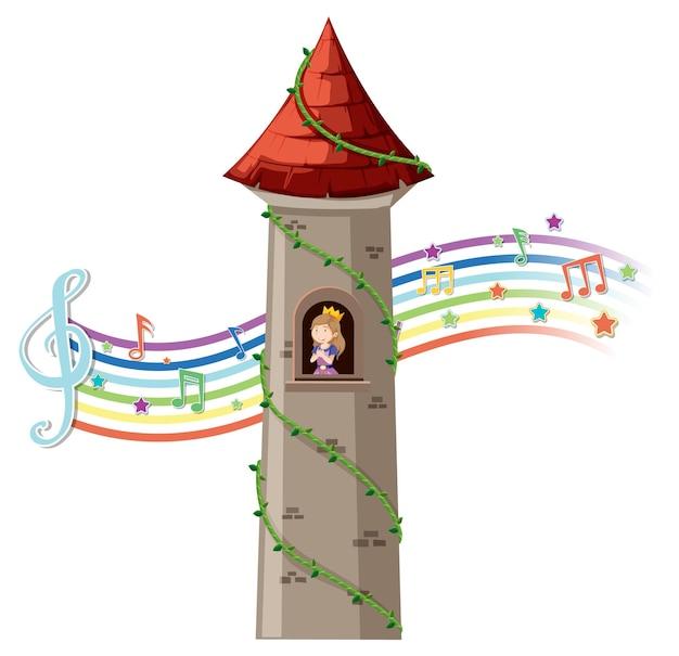 Princesa na torre com o símbolo da melodia no arco-íris