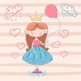 Princesa pequena bonito com balão de ar