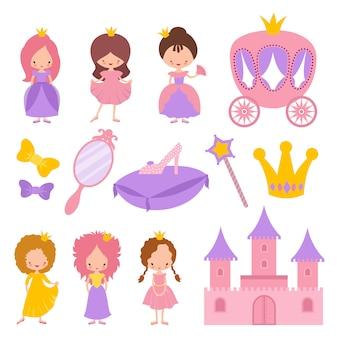 Princesa pequena bonito com coroa e elementos do conto de fadas