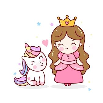 Princesa pequena bonito e vetor unciorn