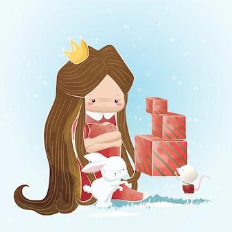 Princesa pequena que recebe presentes do natal