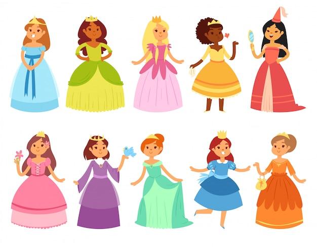 Princesa personagem de menina pequena em lindo vestido feminino com conjunto de fadas de ilustração de coroa de pessoa dos desenhos animados e criança bonita vestindo fantasia de menina no fundo branco