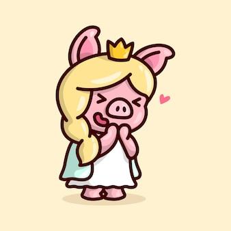 Princesa porco bonito de cabelo louro longo
