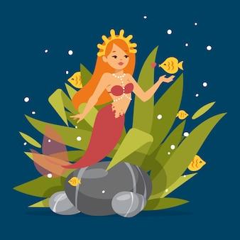 Princesa sereia bonito com cabelo vermelho e outros elementos sob o mar