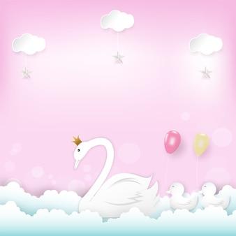 Princesa swan da família com balões