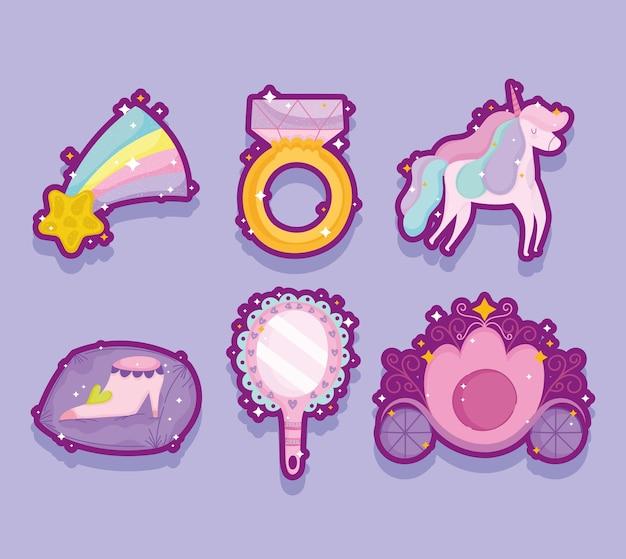 Princesa unicor anel estrela espelho sapato e ícones de sombra de carruagem