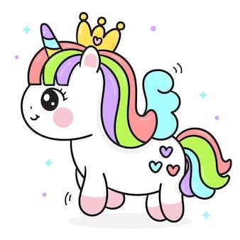 Princesa unicórnio fofa cartoon estilo kawaii
