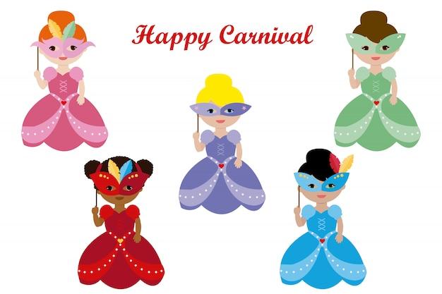 Princesas com máscara de carnaval