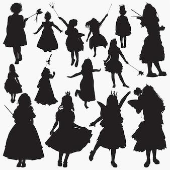 Princesas de fadas silhuetas