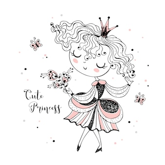 Princesinha fofa com um buquê de flores.