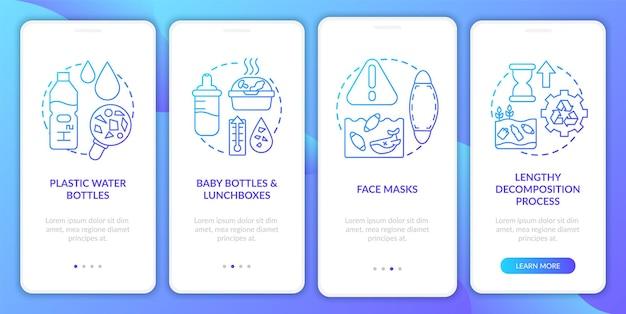 Principais desafios ambientais integrando a tela da página do aplicativo móvel com conceitos